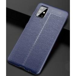 Etui na telefon KARBON SKÓRA Case Granatowe do Samsung Galaxy A71