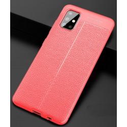 Etui na telefon KARBON SKÓRA Case Czerwone do Samsung Galaxy A71