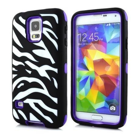 Samsung Galaxy S5 / S5 Neo etui Pancerna Zebra - FIOLETOWE