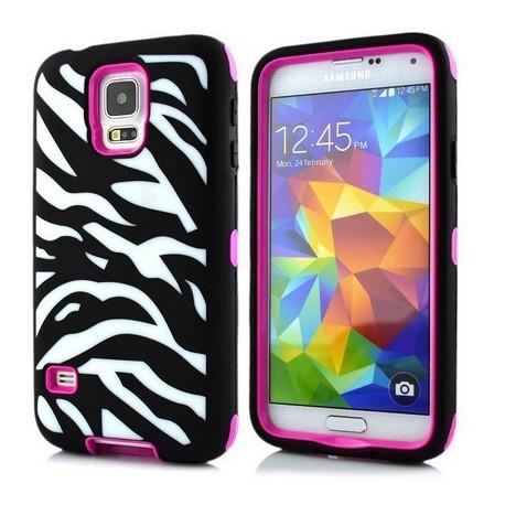 Samsung Galaxy S5 / S5 Neo etui Pancerna Zebra - RÓŻOWE