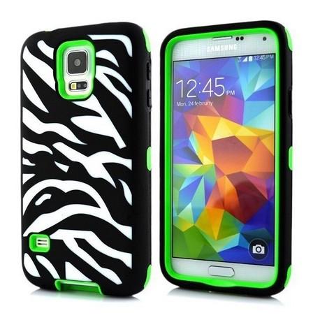 Samsung Galaxy S5 / S5 Neo etui Pancerna Zebra - ZIELONE