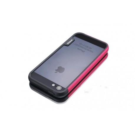 iPhone 4 / 4G / 4S  etui Bumper TRIO CASE - RÓŻOWO-CZARNE