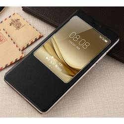 Do Huawei Mate 9 inteligentne etui Flip Cover S-View Case- CZARNE