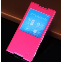 Sony Xperia M5, etui Flip Cover- CIEMNY RÓŻ