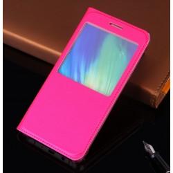 Huawei P10 Lite Etui Flip Cover Window View Ciemny Róż