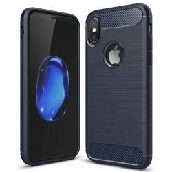 iPhone X etui  Pncerne Karbon ARMOR Case Guma- Granatowe