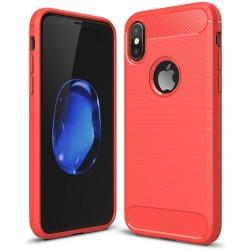 iPhone X etui  Pncerne Karbon ARMOR Case Guma- Czerwone
