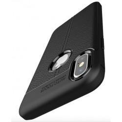 Etui iPhone X  Stylowe Pncerne ARMOR Leather Case Guma- Czarne