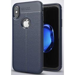 Etui iPhone X  Stylowe Pncerne ARMOR Leather Case Guma- Granatowe