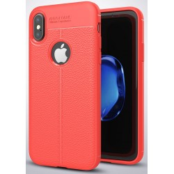 Etui iPhone X  Stylowe Pncerne ARMOR Leather Case Guma- Czerwone