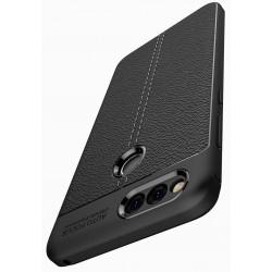 Huawei Honor 7X etui  Pancerne KARBON Case SKÓRA- Czarne