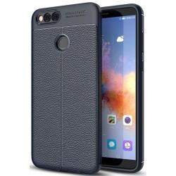 Huawei Honor 7X etui  Pancerne KARBON Case SKÓRA- Granatowe