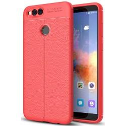 Huawei Honor 7X etui  Pancerne KARBON Case SKÓRA- Czerwone