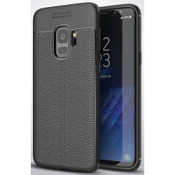 Samsung Galaxy S9 etui  Pancerne KARBON Case SKÓRA- Czarne