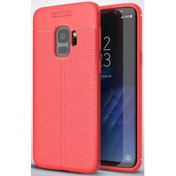 Samsung Galaxy S9 etui  Pancerne KARBON Case SKÓRA- Czerwone