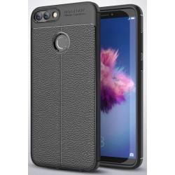 Huawei P Smart etui  Pancerne KARBON Case SKÓRA- Czarne