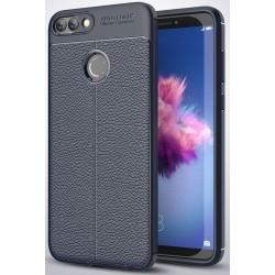 Huawei P Smart etui  Pancerne KARBON Case SKÓRA- Granatowe