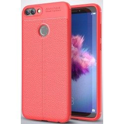 Huawei P Smart etui  Pancerne KARBON Case SKÓRA- Czerwone