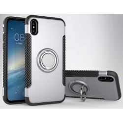 iPhone X etui magnetyczne RING HOLDER case Srebrne