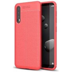 Huawei P20 PRO etui  Pancerne KARBON Case SKÓRA- Czerwone