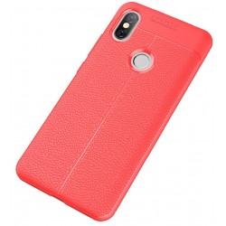 Xiaomi Redmi S2 etui  Pancerne KARBON Case SKÓRA - Czerwone
