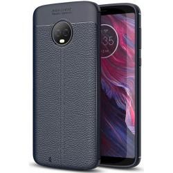 Motorola Moto G6 etui  Pancerne KARBON Case SKÓRA - Granatowe