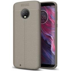 Motorola Moto G6 etui  Pancerne KARBON Case SKÓRA - Grafitowe