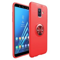 Samsung Galaxy A6 2018 etui KARBON RING MAGNET Red