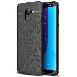 Samsung Galaxy J6 2018 etui  Pancerne KARBON Case SKÓRA - Czarne
