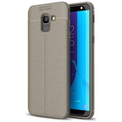 Samsung Galaxy J6 2018 etui  Pancerne KARBON Case SKÓRA - Grafitowe