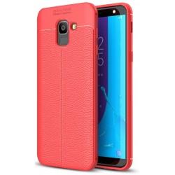 Samsung Galaxy J6 2018 etui  Pancerne KARBON Case SKÓRA - Czerwone