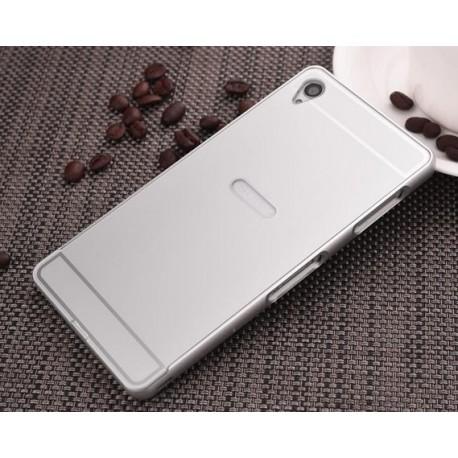 Sony Xperia M4 Aqua, etui Bumper Aluminiowe- SREBRNE