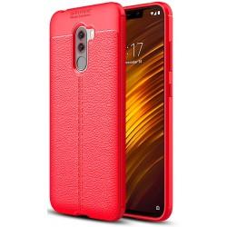 Xiaomi Pocophone F1 etui  Pancerne KARBON Case SKÓRA - Czerwone
