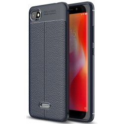 Xiaomi Redmi 6A etui  Pancerne KARBON Case SKÓRA - Granatowe