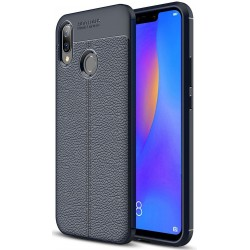 Etui Huawei P Smart Plus KARBON Case SKÓRA - Granatowe