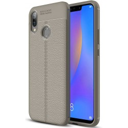 Etui Huawei P Smart Plus KARBON Case SKÓRA - Grafitowe