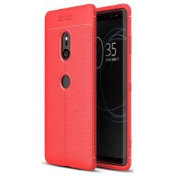 Sony Xperia XZ3 etui na telefon KARBON Case SKÓRA - Czerwone