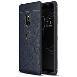 Sony Xperia XZ3 etui na telefon KARBON Case SKÓRA - Granatowe