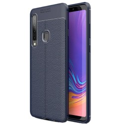 Samsung Galaxy A9 2018 etui na telefon KARBON Case SKÓRA - Granatowe