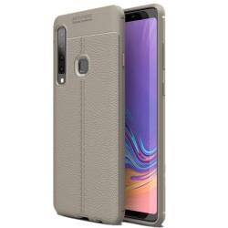 Samsung Galaxy A9 2018 etui na telefon KARBON Case SKÓRA - Grafitowe