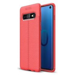 Samsung Galaxy S10 etui na telefon KARBON Case SKÓRA - Czerwone