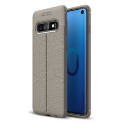 Etui na telefon Samsung Galaxy S10e KARBON Case SKÓRA - Grafitowe