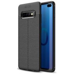 Etui na telefon Samsung Galaxy S10+ Plus KARBON Case SKÓRA - Czarne