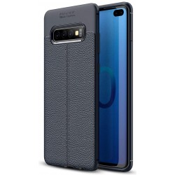 Etui na telefon Samsung Galaxy S10+ Plus KARBON Case SKÓRA - Granatowe
