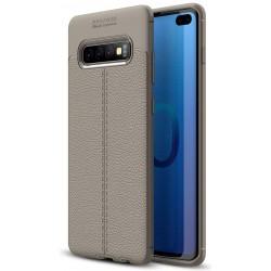 Etui na telefon Samsung Galaxy S10+ Plus KARBON Case SKÓRA - Grafitowe