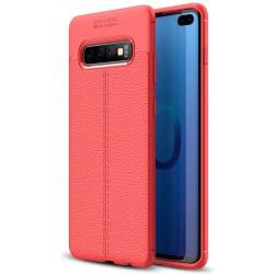 Etui na telefon Samsung Galaxy S10+ Plus KARBON Case SKÓRA - Czerwone