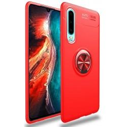 Etui na telefon Huawei P30 KARBON RING HOLDER Red