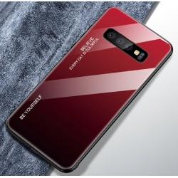 Etui na telefon Samsung Galaxy S10+ Plus Ombre szklane granat